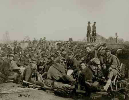 Soldiers in the trenches at Petersburg, 1865